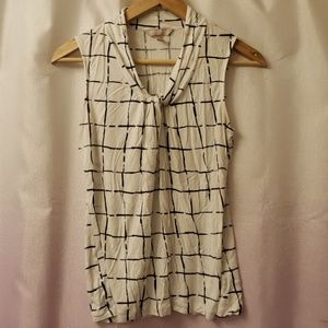 Banana Republic blue white knot sleeveless blouse